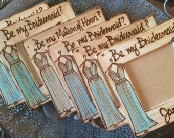 Will you Be My Bridesmaid wedding frames Bridesmaid proposal Gifts, Bridesmaids Favors, Be My Maid of Honor, she said yes, engaged set of 5