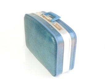Larger Vintage Blue Suitcase
