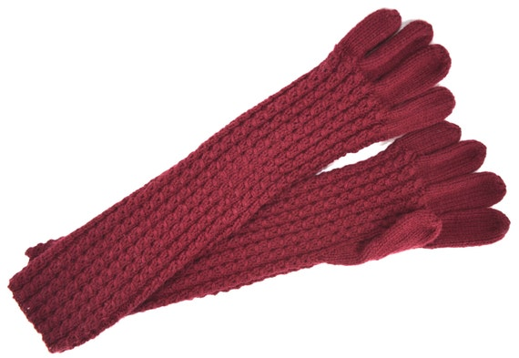 Eyelet Mock Cable Elbow-length Gloves - Soft and Cozy Knitted Design