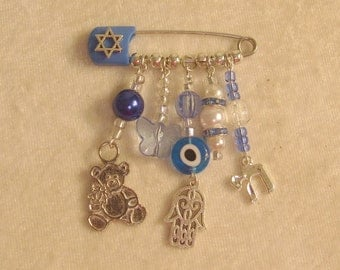Crib Blessing: Royal Blue Hamsa Ornament for Baby's Room