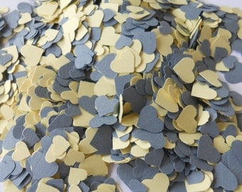 Over 2000 Mini Confetti Hearts. Light Yellow & Grey. Weddings, Showers, Decorations. ANY COLOR Available. Table Decor, Gray