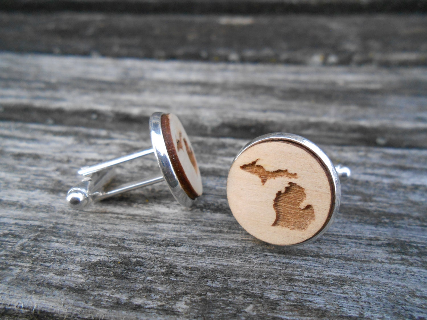 Wood State Cufflinks Michigan Laser Engraved By