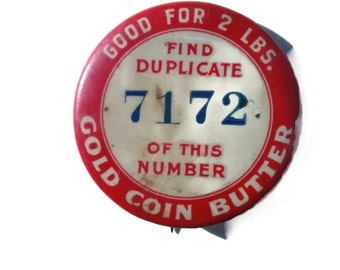 antique 1896 button, Farm , Whitehead and Hoag , Gold Coin Butter , Dairy Premium , Pinback Advertising