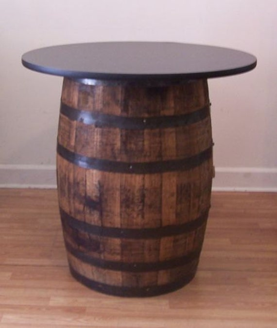 Whiskey Barrel Table With 36 Black Top Reversible