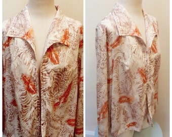 Vintage 1970s Orange Floral Print Shirt/Jacket - L