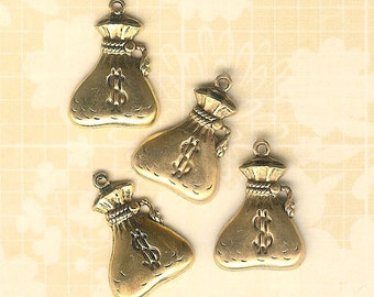 Gold Plated Money Bag Charm-4 pieces