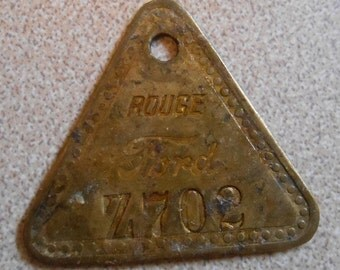 Vintage Ford Brass Tool Check Tag Rouge