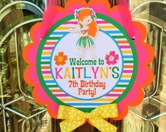 Luau Birthday Party Personalized Welcome Door Sign - Luau Party Decorations - Summer Party Decorations - Luau Door Hanger