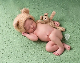 new born teddy bear bonnet,photo prop