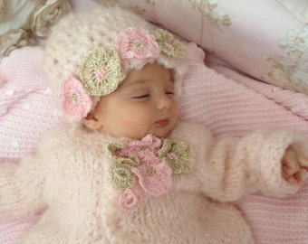 knitted mohair sweater and hat,baby shower gift,pink sweater and hat