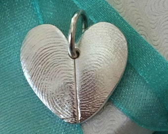 Heart Double Fingerprint Jewelry Charm Custom made keepsake of pure .999 Fine Silver for Charm Bracelet, Pendant, Necklace