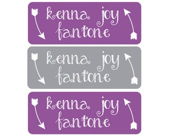 Name Labels, Custom Name Labels, Personalized Name Stickers, Personalized Waterproof Labels, Waterproof Labels, Waterproof Stickers, Purple