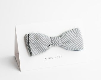 Herringbone bow tie, grey bow tie - double sided, MADE TO ORDER