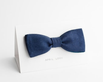 Men's bow tie in blue and dark teal - double sided