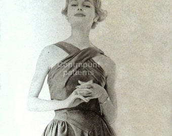 1950s draped cross-chest summer/cocktail dress with voluminous hips and gathered sides
