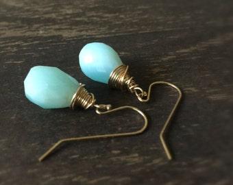 Blue Opal Earrings - Blue Opal Jewelry - Blue Opal Statement Jewelry - Modern Jewellery - Gemstones - Fashion