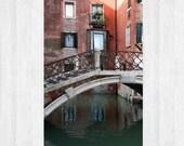 Venezia photograph, Canals of Venice, Italy, Venice, Alleys of Venezia, Bridge, Canal, Orange house, Reflections, Romantic