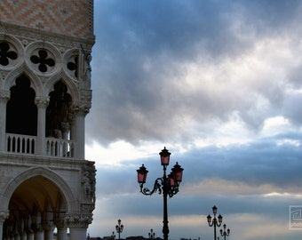 Venezia wall art, San Marco square, Doges Palace, City photography, Early morning, Dramatic clouds, Palazzo Ducale, Venice photography