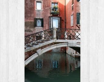 Venice Wall art, Landscape print, Venezia photography, Italy photography, City photography, Urban art, Orange house, Bridge,Water reflection