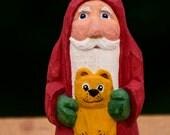 Hand Carved Santa Holding a Teddy Bear--Robin Arnold,Wooden Christmas Art, Folk Art, Handmade in Ohio, St. Nick, Christmas Art, Teddy Bear