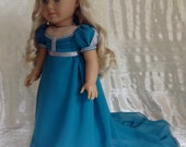 RESERVED Dark Teal Regency dress for Caroline