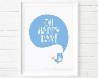Printable Art, Oh Happy Day, printable quotes, Children's print, kids print, nursery room decor, children's decor, kids printable, wall art