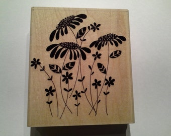 Penny Black Wood Mounted Rubber Stamp -  Flower Amongst Flowers