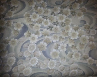 Oriental Traditional flowers on white background by Hana for Kona Bay Fabrics  1/2 or  1 yard cotton quilt fabric