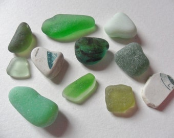 Green sea glass, milk glass & pottery mix - 11 lovely English beach find pieces
