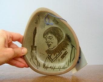 Mid Century Hand Painted Alaska Stoneware Dish / Catch All