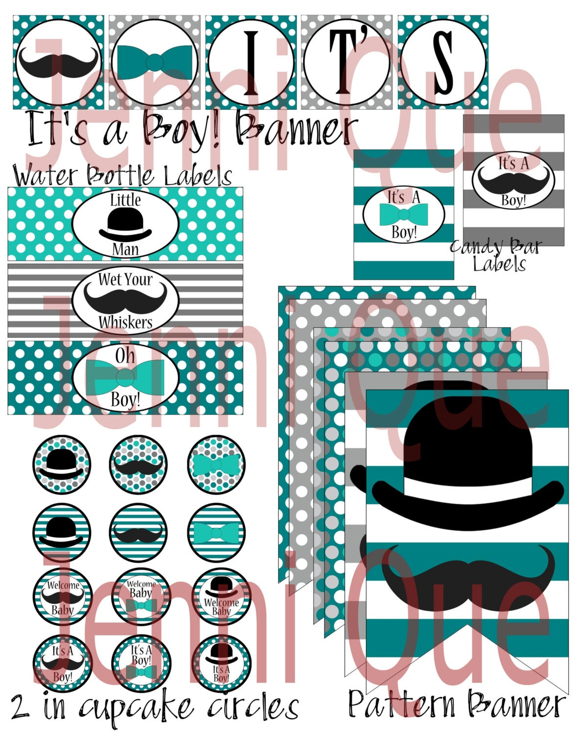 teal gray mustache and bow ties baby shower by jenniqueprintshop