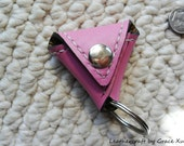 100% hand stitched handmade pinkish purple cowhide leather key chain, coins, guitar picks, golf ball markers holder / pouch