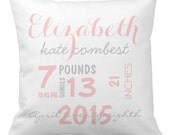 """Custom Throw Pillow - Baby Name and Birth Stats - Pink and Gray Personalized Baby Pillow- 16"""" X 16"""""""