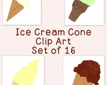 Ice Cream Cone Clip Art Bundle PNG JPG Blackline Commercial Personal Hand Drawn Line Art Soft Serve Scoops Summer Dessert