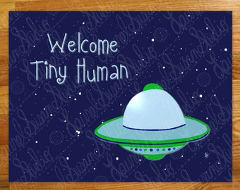 Blue Space Nursery Printable Art, New Baby, Welcome Tiny Human, Space Ship, Green Flying Saucer, Aliens, Digital Wall Art, PNG, JPG, PDF