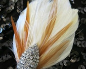 Wedding Pin Brooch Corsage Mother of the Bride Mother of the Groom Feather Ivory Gold Rhinestone Art Deco