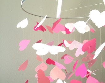 The Pink of Hearts Mobile / / / Nursery Decor, Photo Prop, Baby Shower Gift, Crib Mobile.