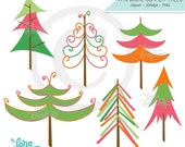 Trees Digital Clip Art, Summer Trees Clipart, Modern Tree Clipart, Whimsical Tree Clipart