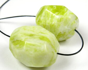 Luscious Lemon Jade Rough Cut Large Smooth Nugget Bead - 25mm x 20mm - 2 Beads - B3341