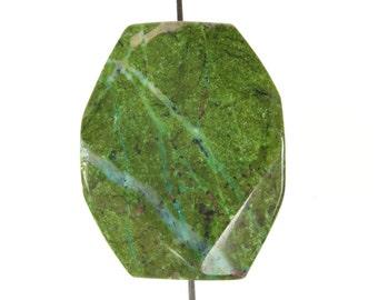 Luscious African Green Turquoise Jasper Octagonal Freeform Pendant - 30mm x 24mm x 9mm - B3383