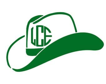 Monogram Cowboy Hat - Monogram Cowgirl Hat - Cowboy Hat Vinyl Decal - Cowboy Cowgirl Decal