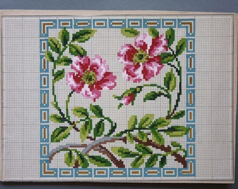 Pair of Hand painted Cross Stitch floral patterns, Wool work flowers, Bouquet pattern, floral needlework,border patterns