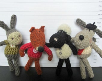 SET of 4 Crochet Patterns for Silly Animals Series II
