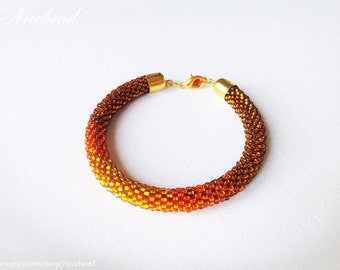 Bead crochet bracelet, crochet bead rope, beaded rope, rope bracelet, brown rope bracelet, orange bracelet, summer bracelet, ombre bracelet