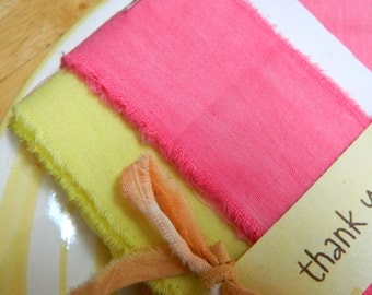 Cotton Ribbon Duos -  Lemonade and Peony - Tea Stain and Peony -  Distressed cotton ribbon - 8 yards total