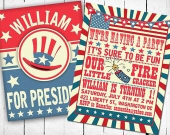 4th of July Invitation- Birthday Invitation-Fourth of July Invitation- Turning 1-  First Birthday -Patriotic- USA- Printable Invitation