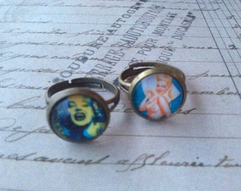 Jewelry Rings Womens Marilyn Monroe and Pin Up Girl 3D Resin Rings