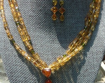 Vintage Sterling Silver Amber Colored Necklace & Earring Set