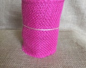 """Hot Pink Burlap Ribbon 5"""" x 15ft Wedding Decor Jute Lace Wreath Shower Mother's Day Spring Summer Easter"""