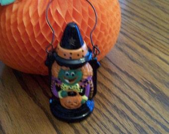 Vintage Halloween Lantern Tea Light Witch Candleholder